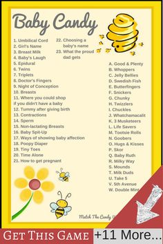 Use these bumble bee baby shower ideas to create a theme that your guests can really enjoy. Free printable baby shower d Baby Candy, Baby Shower Candy, Shower Bebe, Baby Shower Games, Baby Shower Parties, Baby Boy Shower, Bee Gender Reveal, Baby Shower Gender Reveal, Baby Shower Printables