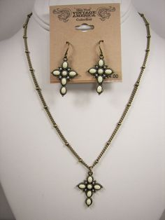 Nine West Vintage America Cross Antique Gold Tone Necklace Earrings Set MSRP $50 #NineWestVintageAmerica Only $38.99 with free shipping!