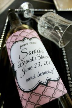 Personalized wine labels for a Paris themed Bachelorette Party
