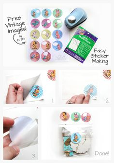 Make your own Sitckers by FPTFY Free Vintage Circles Make Your Own Stickers, Diy Stickers, All You Need Is, Craft Tutorials, Diy Projects, Diy Paper, Paper Crafts, Arc Planner, Household Notebook