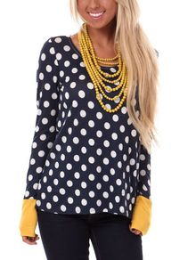 Long Sleeve Polka Dot Contrast T-shirt