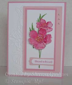 Stamping With Sharon: Fabulous Florets with Melon Mambo embossing powder and Melon Mambo, Daffodil Delight and Wild Wasabi inks, Flower Garden embossing folder