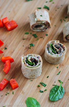 Vegetarian Pesto & Olive Pizza Roll-Ups from @cookincanuck