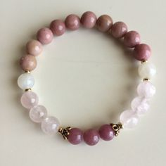 Fertility ~ Genuine Moonstone, Rhodonite, Rose Quartz & Ruby ~ Vermeil Caps ~ Fertility