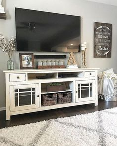 Sweet home Living Room - 47 Amazing Rustic Farmhouse Living Room Decoration IdeasHomeDecorish. My Living Room, Living Room Interior, Home And Living, Modern Living, Tv Stand Ideas For Living Room, Living Room Decor With Tv, Modern Room, Farmhouse Living Rooms, Living Room Decorations