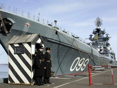 guarding kirov class battlecruiser pyotr velikiy