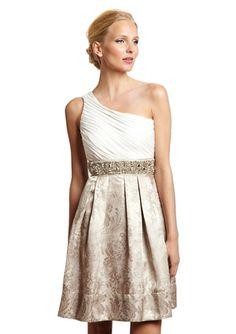 ELIZA J One-Shoulder Beaded Waistband Dress