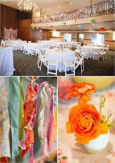Cute bunting indoor wedding reception