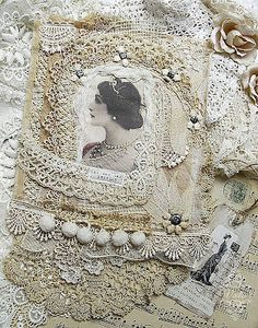 Lace covered picture frame or journal. Either way... very pretty.