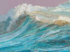 Matthew Cusick Depicts Roaring Movement of Waves Through Map Collages - Rachel's Wave