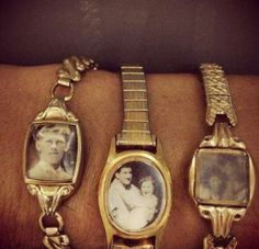 Upcycled old watches w/ vintage family fotos