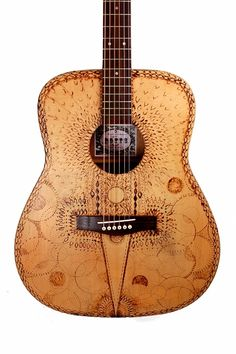 Modified Acoustic Guitar With Pyrography