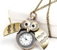 Flappy Wings Owl Locket Watch Necklace - BONUS PACK with Pin Badge and Gift Wrap