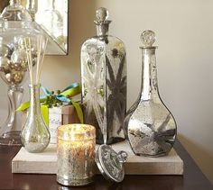 Etched Mercury Glass Candle Pot & Diffuser Benefiting St. Jude Children's Research Hospital® #potterybarn