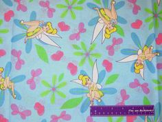 """44"""" Wide Tinkerbell Flowers Butterflies Cotton Fabric By The Half Yard #52"""