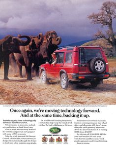 One of the first magazine advertisements run when the Discovery II replaced the Discovery I during the 1999 model year. Land Rover Discovery 1, Discovery 2, Discovery Channel, Land Rover Series 3, Range Rover Supercharged, Range Rover Classic, Car Accessories For Girls, 4x4, Car Advertising