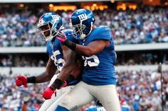 New York Giants running back Andre Brown (35) celebrates his touchdown