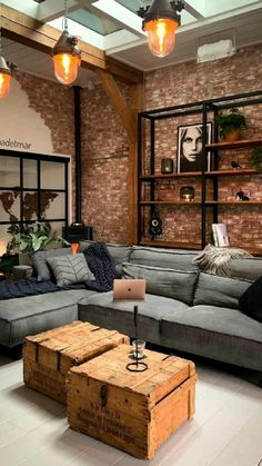 Home Living Room, Apartment Living, Living Room Designs, Living Room Decor, Loft Interior, Home Interior Design, Casa Loft, House Design, Loft Design