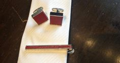 Denison Boston red leather tie clip $55 and cufflinks $55 from Gotstyle Menswear.