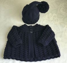 New Hand knitted  Navy Baby Boys  Matinee cardigan and Pixie Hat fits 0-3 months
