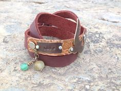 Embossed copper and hand stamped antique brass Hope by Dentit