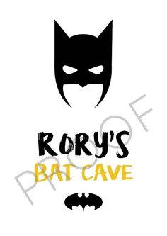 Boys bedroom A4 Print BATMAN Bat Cave personalised
