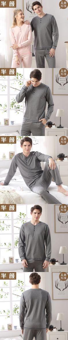 Cotton Long Sleeve Solid Pajamas Sets Women's Sleepwear Sleepshirts Sexy Men's Pajamas Homewear Fashion Clothing FT349