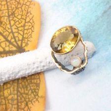 Citrin Opal schwarz gold gelb Design Ring Ø 18,0 19,0 mm 925 Sterling Silber neu Black Rhodium, Gemstone Rings, Gemstones, Jewelry, Design, Black Gold, Yellow, Silver, Ring