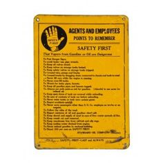 """Original and intact c. 1910-20 american vintage industrial bright yellow enameled die cut steel """"points to remember safety first sign. #vintagesign #antique #salvage #industrial"""