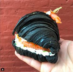 I'm fascinated by this squid ink croissant – it looks so striking! Cafe Food, Food Menu, Pastry Display, Croissant Recipe, Food Porn, Bagel Sandwich, Black Food, Pastry And Bakery, Weird Food