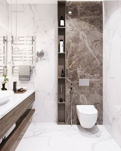 Design, determination, and DIY tips for renovationing your master bathroom on a tight budget. Awesome DIY home projects, inspiration for your home, and cheap remodeling suggestions for your bathroom. Bathroom Tile Designs, Bathroom Design Luxury, Bathroom Layout, Modern Bathroom Design, Small Toilet Room, Small Bathroom, Master Bathroom, Home Room Design, Home Interior Design