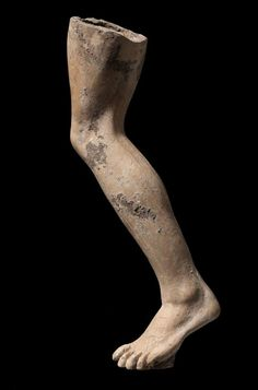 Left leg in movement, from a Greek terracotta sculpture. Made in Smyrna, Ionia, 323-31 BC