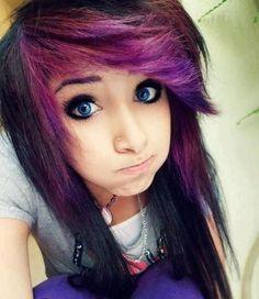 Scene hair tumblr purple bangs