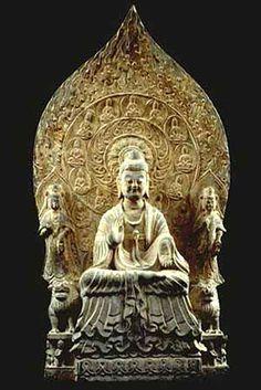 中國北京故宮博物院收藏西魏紀年(大統八年542)佛三尊造像石碑