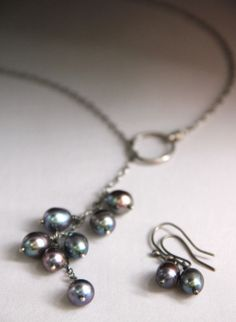 Peacock Pearl Cluster Lariat Necklace natural by CynthiaDelGiudice, $55.00