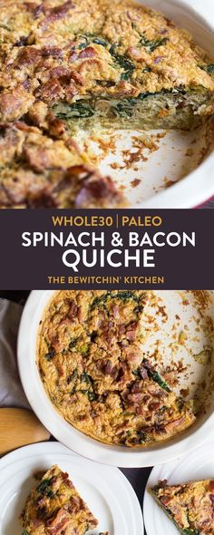 This tasty and healthy gluten free spinach and bacon quiche recipe is perfect for a fresh breakfast and falls under the paleo diet, keto, plus It's crustless by using a sweet potato crust! Paleo Quiche, Bacon Quiche, Quiche Recipes, Breakfast Quiche, Whole 30 Breakfast, Breakfast Recipes, Recetas Whole30, Best Gluten Free Recipes, Dessert