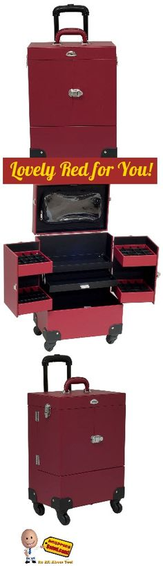 This Rolling Makeup Cosmetic Case has a 360 degree rolling 4 wheels system. Beautiful new red leather-like (Faux Leather) finish with a Retractable/telescoping handle for extra durability and inline skate wheels for easy rolling. Click here now for more info: http://www.shoppingsated.com/store/p47/Rolling_Makeup_Cosmetic_Case.html
