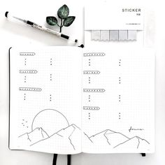 Bullet journal weekly layout, mountain drawings. | @merakumi