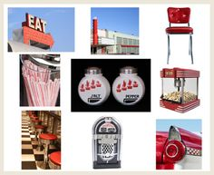 Get inspiration from classic style and discover how to best incorporate related colors in your favorite room. 57 Chevy Bel Air, Back To The 50s, Diner Decor, Checkerboard Floor, Retro Appliances, 50s Diner, American Diner, Blue Highlights, Interior Design Elements