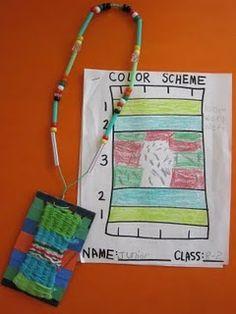 2nd grade weaving/necklace. sketchbook plan/finished product