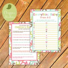 Instant Download Alphabet or Book Baby Shower by ChipperStudios