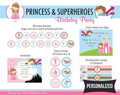 Princess Superhero Birthday Party Package PRINTABLE DIY for Twin/Joint Birthday PERSONALIZED