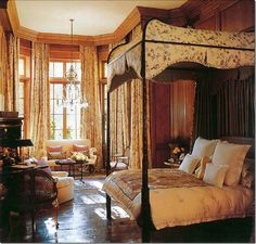 "~Antiquaire/Designer Rose Tarlow's bedroom. My dream is to create my version of this incredible room. So many textures and colors...boiserie walls, lacquer, tapestry, gilding, artwork, hammered satin, chintz. So calm, comforting and inviting (from ""The Private House"")."