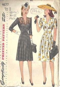 Vintage Sewing Pattern DRESS 1746 by tvpstore Vintage Outfits, Vintage Dresses, Vintage Dress Patterns, Clothing Patterns, 1940s Fashion, Vintage Fashion, 40s Mode, Manga 3 4, Retro Pattern