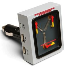 This USB Car Charger looks like a Flux Capacitor from the Back to the Future series! Each Flux Capacitor Car Charger has two USB ports, each capabl Car Gadgets, Electronics Gadgets, Iphone 5s, Geek House, Smartphone, Solar Panels For Home, Cool Tech, Back To The Future, Future Car