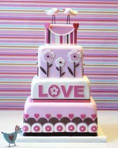 Retro Love cake by Planet Cake Gorgeous Cakes, Pretty Cakes, Cute Cakes, Amazing Wedding Cakes, Amazing Cakes, Fondant Cakes, Cupcake Cakes, Planet Cake, Bolo Minnie