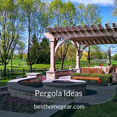 Half Round Concrete Seating with Round Fire Pit and Wooden Armchair with Pergola in Bluestone Patio Design Ideas Fire Pit Backyard, Backyard Patio, Backyard Landscaping, Landscaping Ideas, Pergola Patio, Pergola Kits, Pergola Ideas, Curved Pergola, Patio Fire Pits