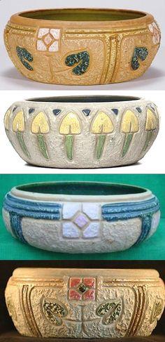 Roseville Pottery, Mostique low bowl vases