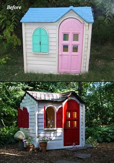 For a moment I thought the second photo was a high end wooden cottage but it's actually a tacky Little Tykes plastic playhouse repainted wi...