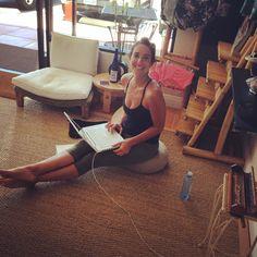 hard at work! pure. love. yoga. Creative Director Laura Love